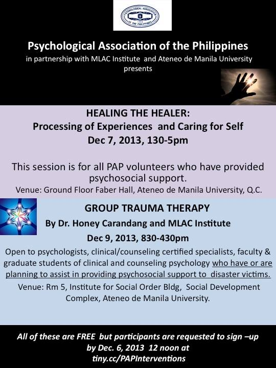 PAP-MLAC Training on Group Trauma Therapy