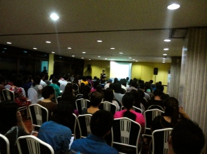 A full-packed room listens to our emcee, Ms. Riza Ng, introduce the flow of the program.
