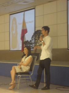 Ms.Rose Fres Fausto and son Marty during the Q & A.