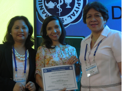 (left-right) Dr. Grace Padilla, the over-all chair of the Scientific Forum; Bless de Asis; and Dr. Jocelyn Franco, Chair of the Department of Pediatrics