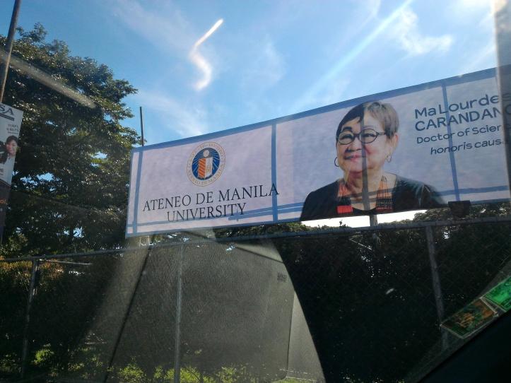 ADMU's banner of Dr.Carandang along Katipunan Road